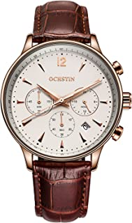 OCHSTIN Aviator Mens Chronograph Watch Date 24/Hours Function Leather Band Gold Stainless Steel Watches