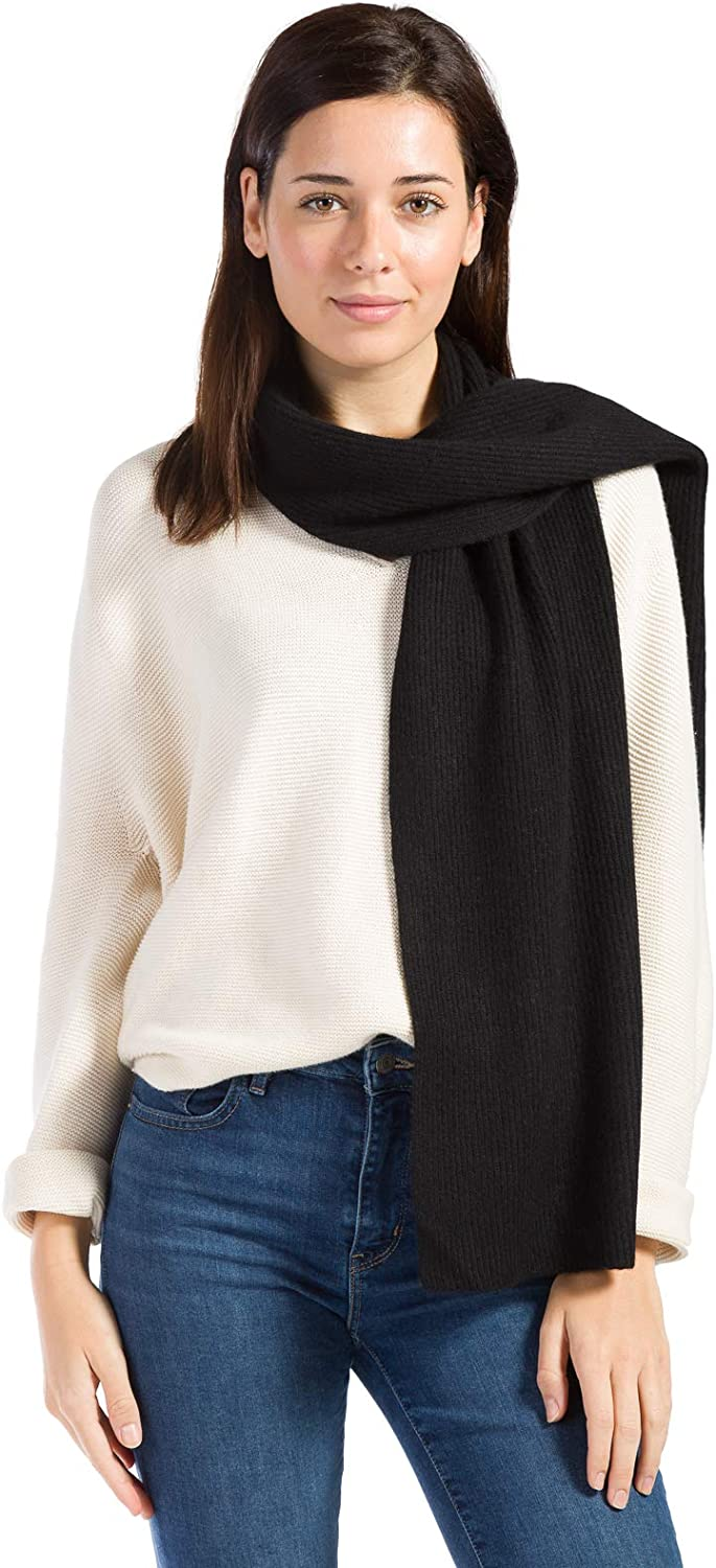 Fishers Finery Women's 100% Cashmere Ribbed Knit Winter Scarf | Black Label Box