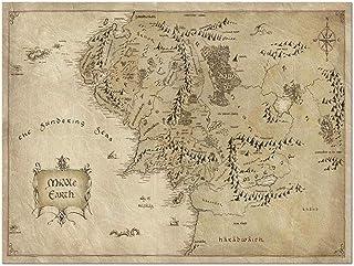 Impression sur toile unique peinture à grande échelle rétro Seigneur des Anneaux carte du monde décoration peinture oeuvre...