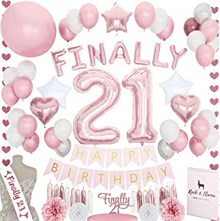 21st Birthday Decorations | Rose Gold FINALLY 21 Letter Balloons Cake Topper Sash | Pink Fuchsia Party Supplies for Her Legendary 21 BDAY