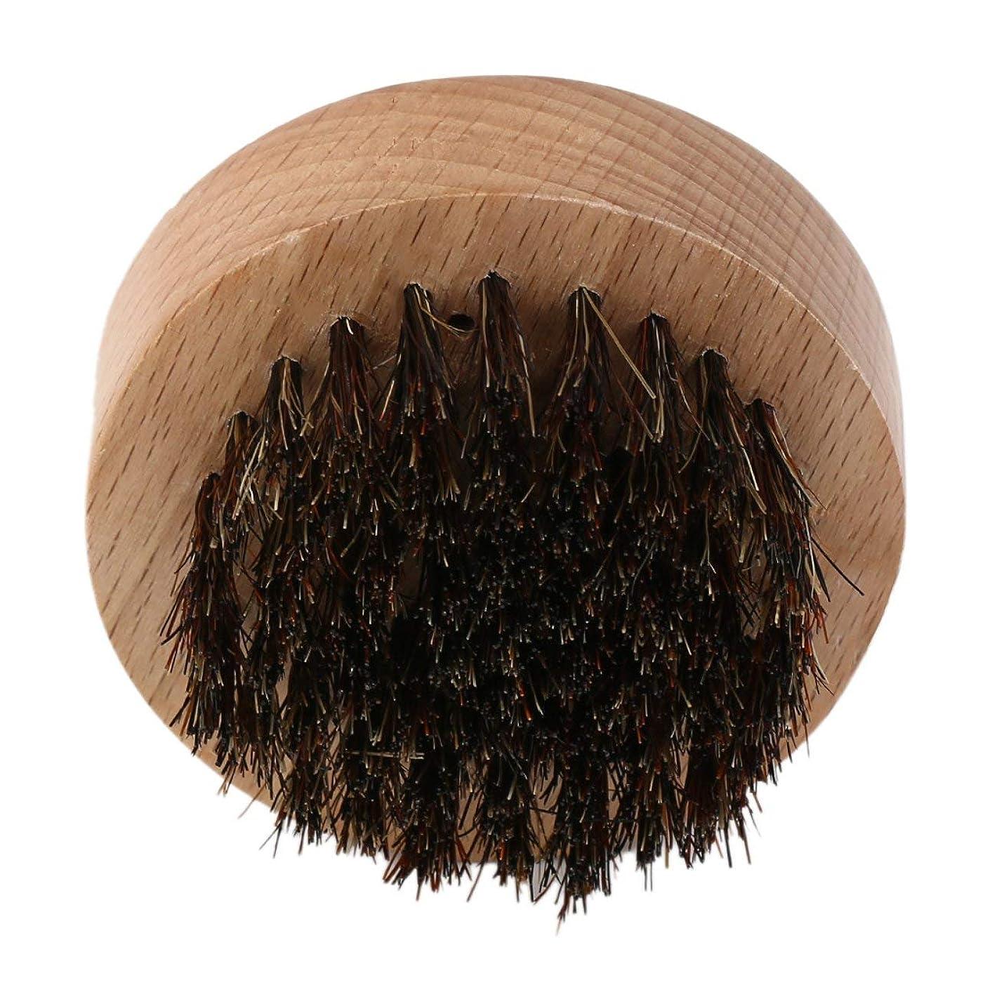DeeploveUU 男性ウッド+イノシシ毛ラウンドひげブラシフェイシャルヘアコーム用口ひげコンディショニングスタイリングとメンテナンス