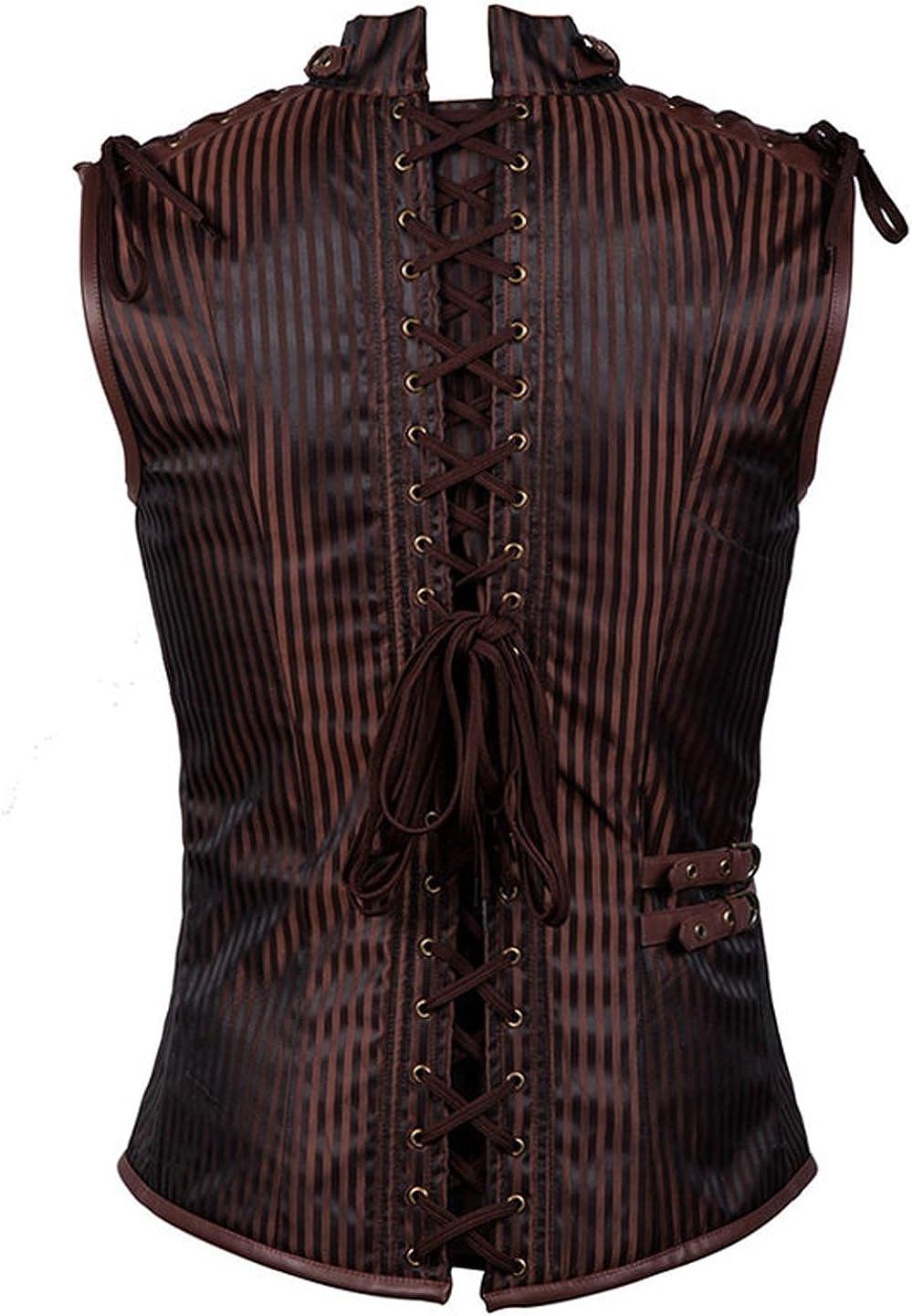 Modern current 1982 Men Black Striped Satin Sleeveless Stand Collar Vintage Steampunk Jacket