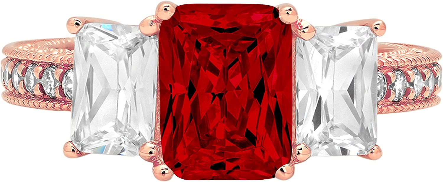 4.26 ct Emerald Round Cut Solitaire 3 stone Accent Genuine Flawless Natural Red Garnet Gemstone Engagement Promise Statement Anniversary Bridal Wedding Ring Solid 18K Rose Gold