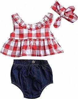 Baby Girls Plaid Ruffle Bowknot Tank Top Denim Shorts Outfit Headband