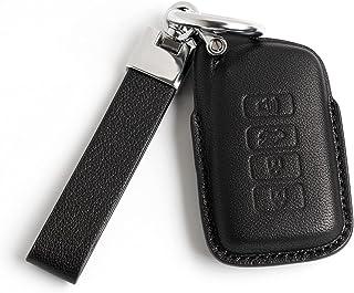 سلسلة مفاتيح من الجلد الأسود Smyfob وغطاء مفتاح السيارة متوافق مع علبة حامل صدفة لكزس ملحقات الهدايا ES250 ES300h ES350 IS...
