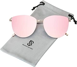 SOJOS Mirrored Flat Lens Fashion Sunglasses for Women SJ1085