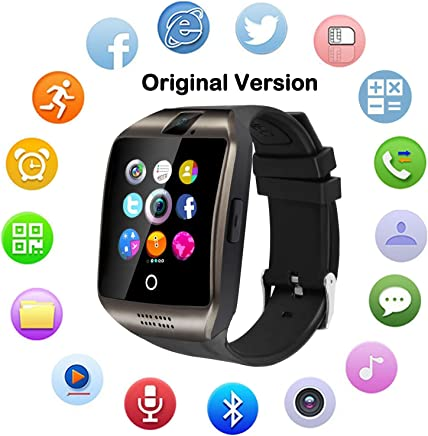 Upgraded Large Screen Smart Watch with Camera, Waterproof Touch Screen Smartwatch with SIM Card Slot, Unlocked Watch Cell Phone for Android/iOS Phones (Black)