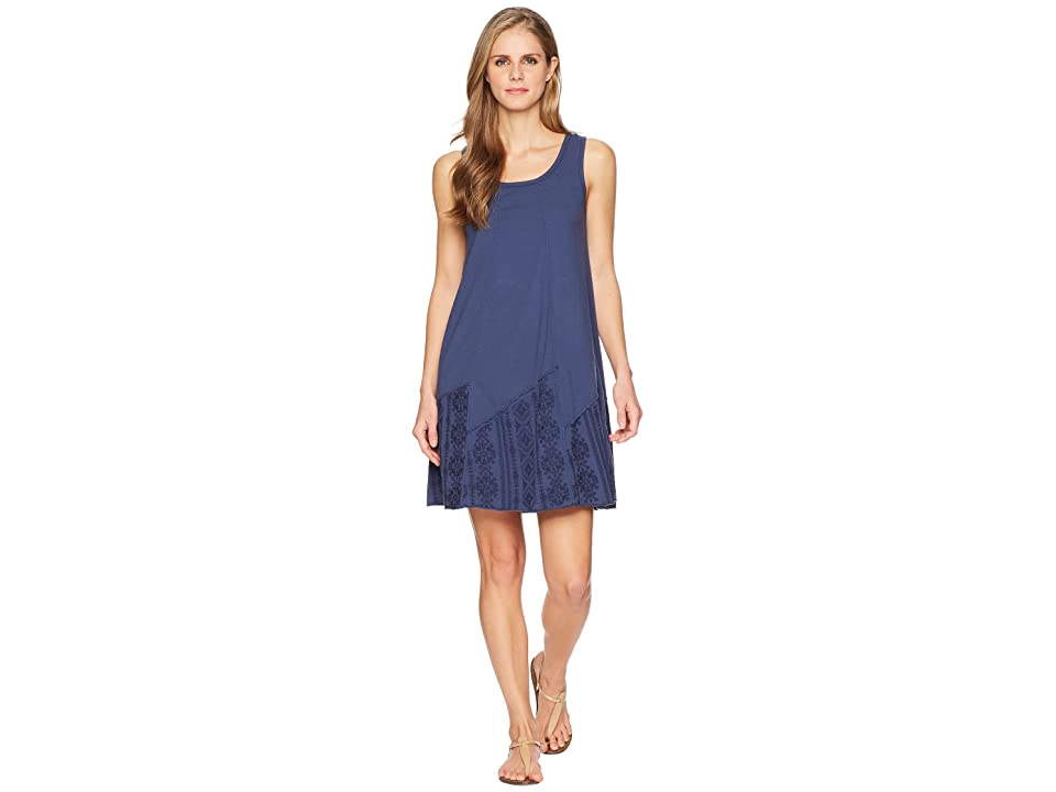 Mod-o-doc Classic Jersey Embroidered Panel Tank Dress (New Navy) Women