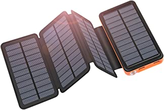 Solar Charger 25000mAh ADDTOP Portable Solar Power Bank with Type-C Input for Smart..