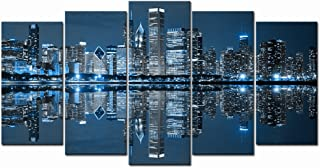 LevvArts - Chicago Downtown at Night Picture Canvas Print - Modern City Wall Art - Large 5 Panels Framed Artwork for Office Living Room Wall Decoration
