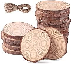 SanGlory Holzscheiben 20 Stücke 9-10CM Holz Log Scheiben mit Loch und 10 Meter Jute Seil Naturholzscheiben Holz Deko Baumscheiben zum Basteln für DIY Handwerk Hochzeit Mittelstücke