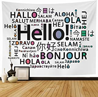 Ahawoso Tapestry Wall Hanging 60x50 Languages Bonjour Hello Different Translate Class English Foreign French Home Decor Tapestries Decorative Bedroom Living Room Dorm