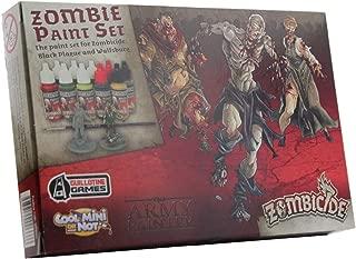 The Army Painter Zombicide Paint Set, 10 Dropper Bottles of Miniature Paint with Free Paintbrush, High-Pigment Zombicide Black Plague Paint Set for Miniatures - Warpaints Zombicide Black Plague Set