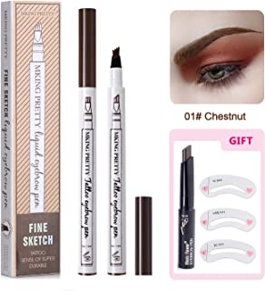 Eyebrow Tattoo Pen -Afaston microblade pen Microblading Eyebrow Pencil with a Micro-Fork Tip Applicator Creates Natural Looking Brows Effortlessly and Stays on All Day (Chestnut)