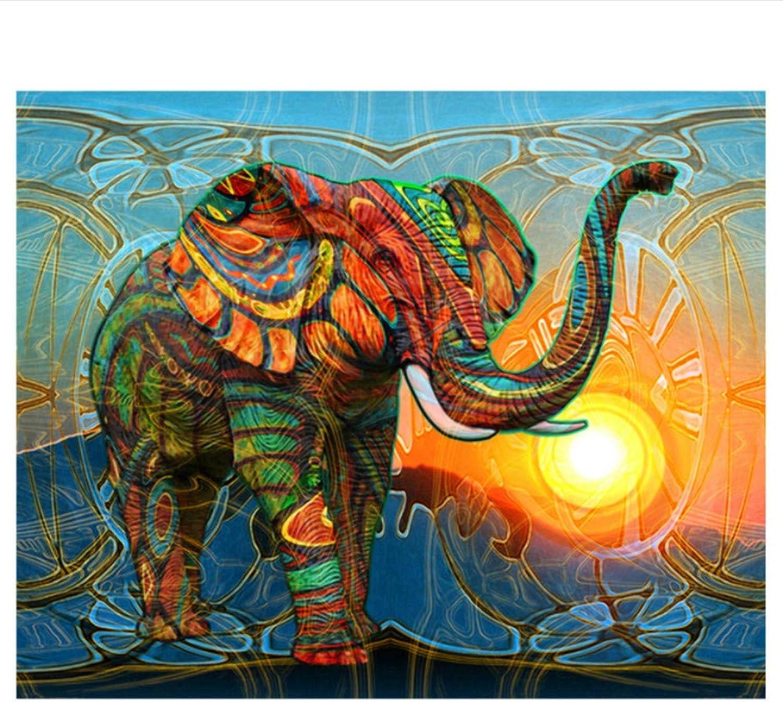 The 5D DIY Diamond Painting Abstract Elephant 3D Cross-Stitch Round Full Rhinestone Stuck Diamant Painting Animal Embroidery,45x60cm