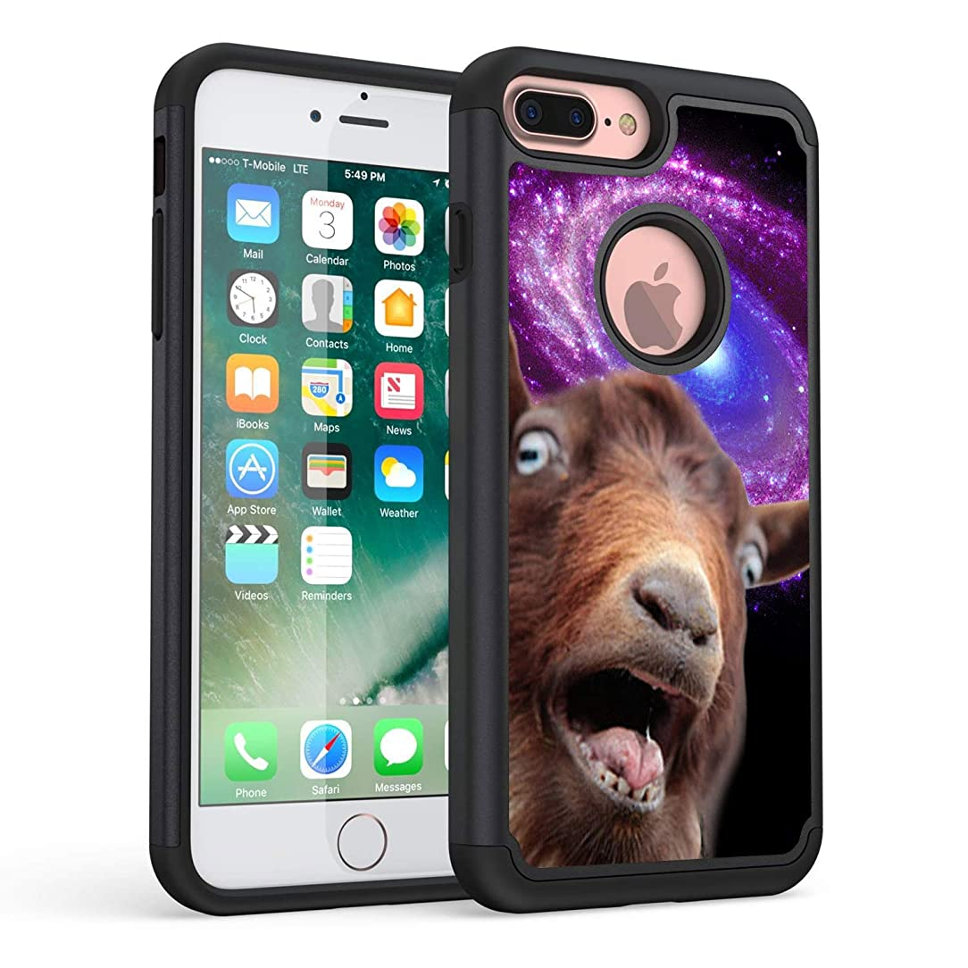 iPhone 7 Plus Case,iPhone 8 Plus Case,Rossy Heavy Duty Hybrid TPU Plastic Dual Layer Armor Defender Protection Case Cover for Apple iPhone 7 Plus/8 Plus,Funny Space Goat Meme