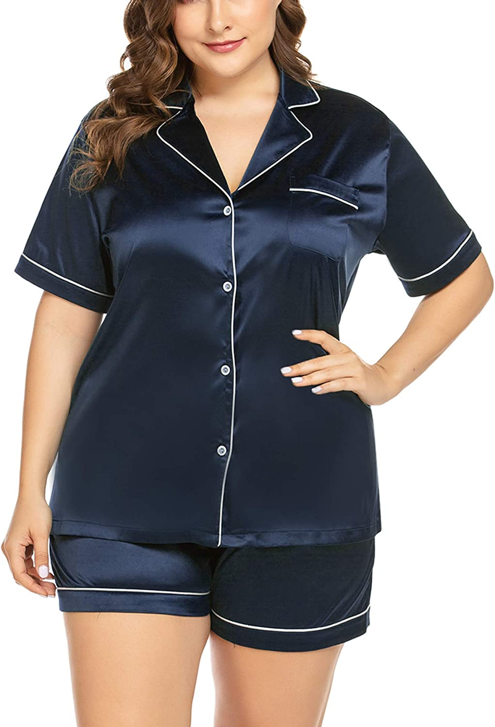 Directly managed store IN'VOLAND Women's Plus Brand new Size Pajama Sleeve Sa Set Short Sleepwear