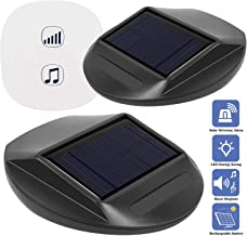 Seanme Solar Motion Sensor Alarm,Solar Lights, Wireless Driveway Alarm, Outdoor,Indoor Weatherproof Business Detect Alert with 2 Sensor and 1 Receiver,38 Chime Tunes - LED Indicators