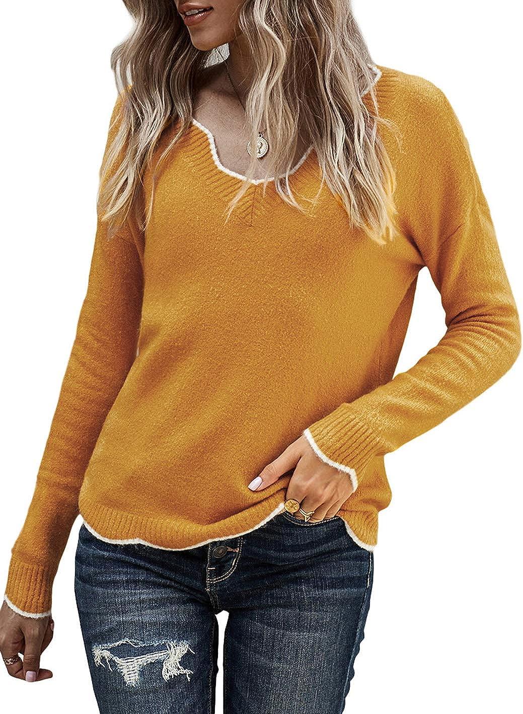 Women's Casual Wavy V Neck Long Sleeve Lightweight Pullover Knit Sweater Jumper Tops