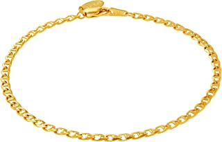 Ankle Bracelets for Women Men and Teen Girls [ 24k Gold Plated 3mm Gucci Mariner Link Anklet ] 20X More Plating Than Other Foot Chains - Lifetime Replacement Guarantee 9 10 11 inches