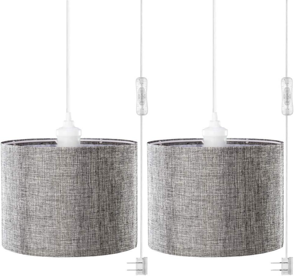 QITIM 2 Superlatite Pack Plug in Pendant Light Shade Linen Gray Indoor Hang Direct sale of manufacturer