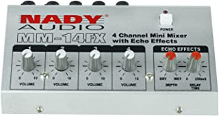 """Nady MM-14FX 4-Channel Microphone Mixer with integrated echo effect – ¼"""" Inputs & output – Delay time & Depth controls"""
