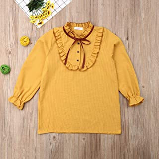 Child's Gift Baby Girl Clothes, Soft Summer 0-3 Months Baby Girl Clothes, Puff Sleeve Tops T-Shirt Girls Baby Clothes Girl for Wear on The Body Gift Photograph (Color : Yellow, Kid Size : 14)