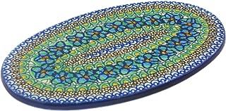 Polish Pottery 9¾-inch Cutting Board made by Ceramika Artystyczna (Mardi Gra Theme) Signature UNIKAT + Certificate of Authenticity