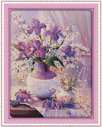 Anself Cross Stitch Set Purple Vase Pattern DIY Embroidery Kit for Home Decor 38 X 47cm