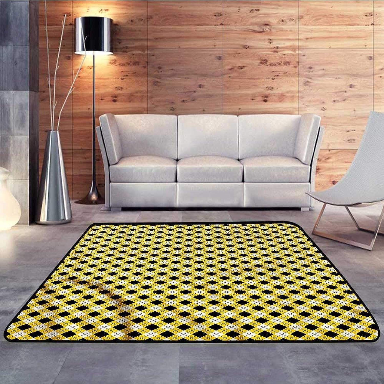 Carpet mat,Geometric,Argyle Grid PatternW 55  x L63 Floor Mat Entrance Doormat