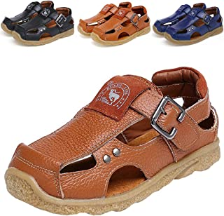 f813d946db201f DADAWEN Boy s Girl s Athletic Summer Leather Outdoor Closed-Toe Strap Sandal (Toddler Little