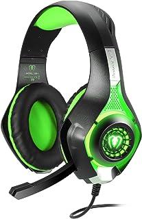 BlueFire Cascos Gaming, Auriculares Gaming PS4 con Micrófono Mac Estéreo Juego Gaming Jack 3,5mm LED Bajo Ruido Compatible con PC/Xbox One/Móvil (Verde)