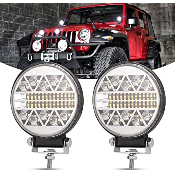 LED Pods AKD Part 4 inch 96W Round LED Light Bar with DRL Function Off Road Driving Lights OSRAM Spot Flood Combo Work Lights for Truck Jeep SUV Wrangler Pickup