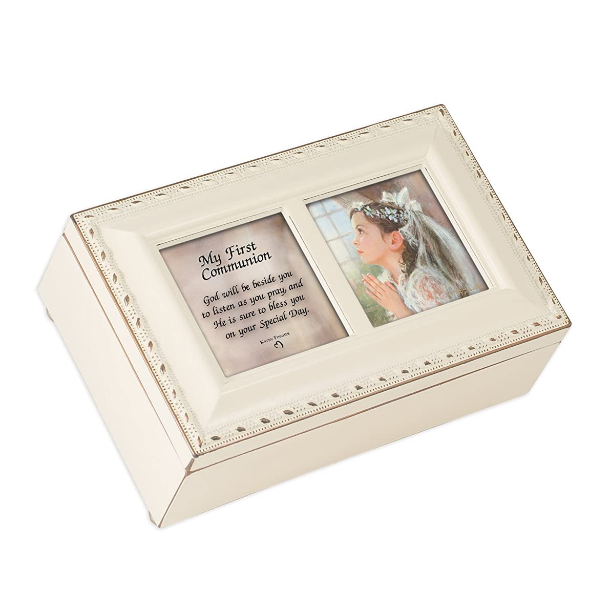 Cottage Garden First Communion God Beside You Matte Ivory Jewelry Music Box Plays Ave Maria