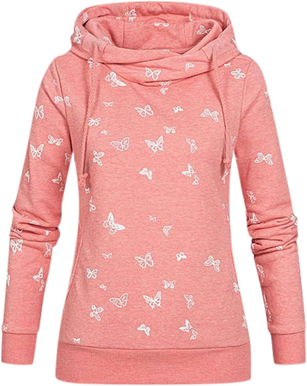 Haheyrte Hoodies for Womens Cute Comfy Print Drawstring Fit Long Sleeve Casual Sweatshirts Pullover Tops Shirts Sweaters