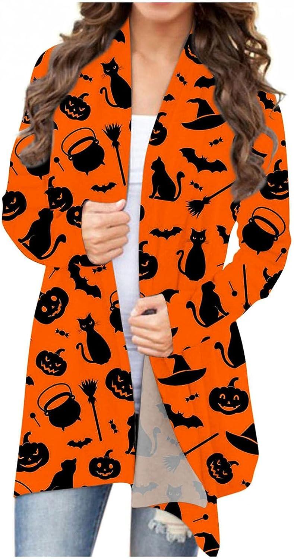 Halloween Cardigan Sweaters for Women,Womens Long Sleeve Open Front Open Cardigan Tops Pumpkin Printed Lightweight Coat