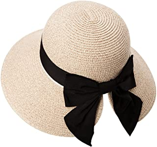 Siggi Womens Floppy Summer Sun Beach Straw Hat UPF50 Foldable Wide Brim 55-60cm
