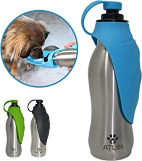 ATLIN Dog Water Bottle - 304 Stainless Steel and Silicone - Leak-Proof Dog Bottle is Great for Walking, Hiking, Running and The Dog Park – 20 oz for Large, Medium or Small Dogs