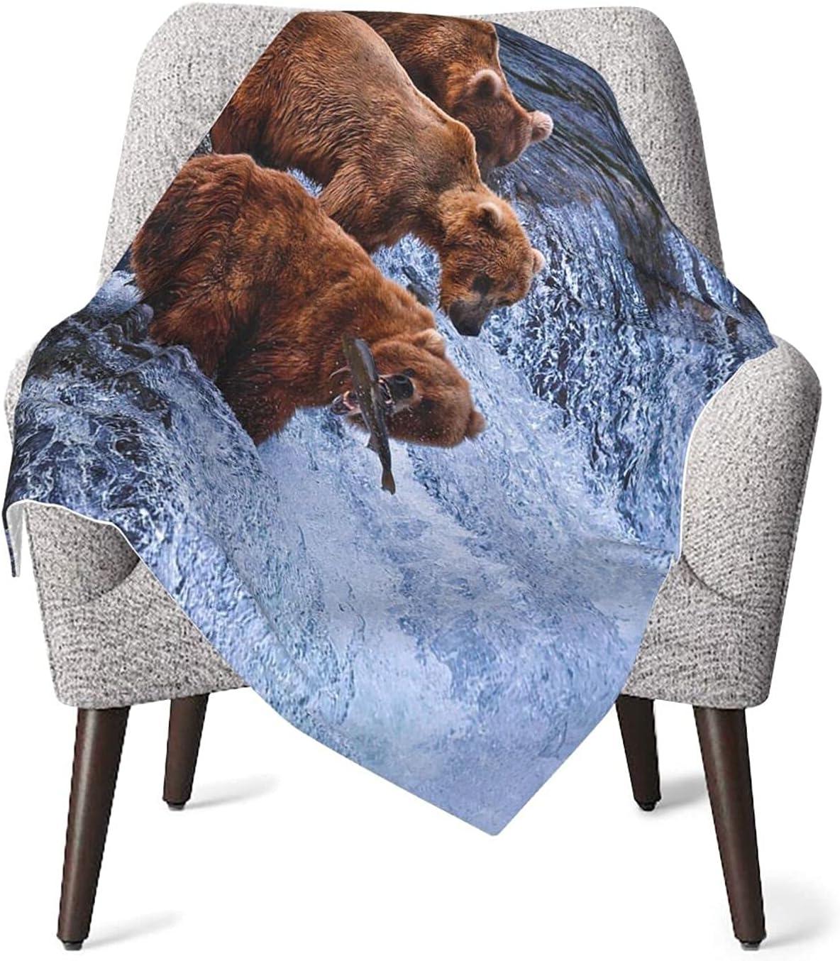 Manta para bebé, de Africa, con osos de pesca en el río, unisex, para bebé, de peluche, 30 x 40 pulgadas, para niños y niñas FASHLOVE
