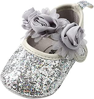 Weixinbuy Baby Girls' Flower Soft Sole Anti-Slip Shoes Princess Mary Jane Flats