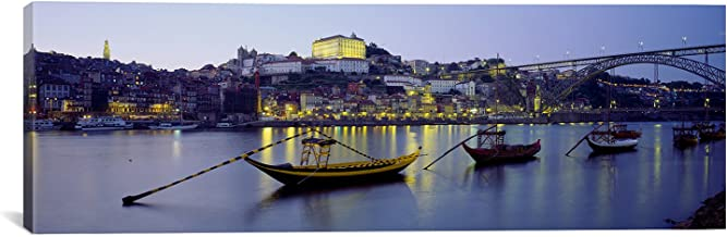 """iCanvasART Boats in a River Douro River, Porto, Portugal by Panoramic Images Canvas Art Print, 48 by 16-Inch 48"""" x 16"""" 48x16xPIM940"""