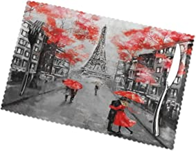 TianHeYue France Paris Eiffel Tower Valentine's Day Placemats Set of 6, Washable Table Place Mats for Kitchen Dining Home ...