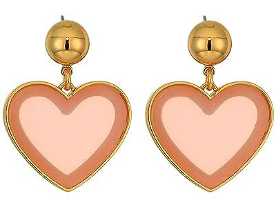 J.Crew Heart Drop Acetate Earrings (Pale Blush) Earring
