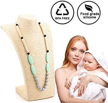 Lofca Baby Toys Silicone Teething Necklace for Mom to Wear-BPA Free -Anti Flammatory,Drooling , Teething Pain Reduce ...
