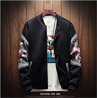 Floral Bomber Jacket Men Patchwork Flowers Long Sleeve Zipper Jackets Coat Jacket