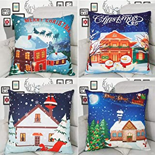 Hibedding Christmas Decoration Xmas Throw Pillow Cover Farmhouse Decorative Cotton Linen Square Snow Cushion Cover for Sofa Couch Bedroom Living ROM Christmas Decor, Blue
