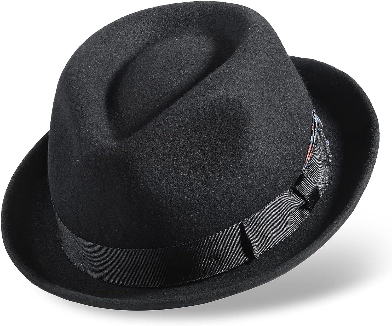 Fedora Hats for Men/Women, 100% Wool Felt Hat Mens Womens Gain Trilby Fedoras Hat with Grosgrain Band