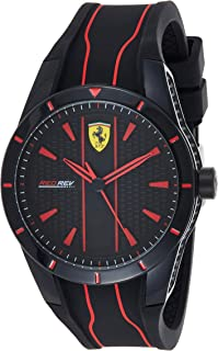 Ferrari Mens Quartz Watch, Analog Display and Silicone Strap 830481