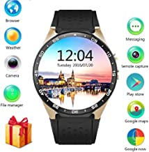 BISOZER KW88 Round Bluetooth Smart Watch Unlocked Android 5.1 Wrist Phone Nano SIM 3G WiFi 2.0MP Camera Touchscreen Smartwatch Call Heart Rate Monitor Pedometer for Android Samsung iOS iPhone