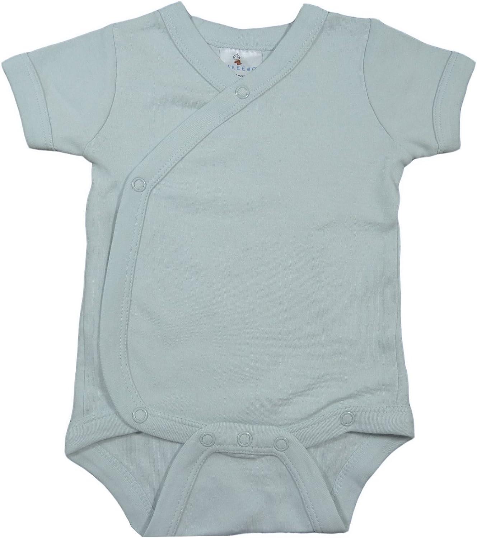 Organic cotton kimono baby vest in teal green